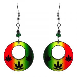 Round-shaped hoop triple cannabis pot leaf acrylic dangle earrings with beaded metal hooks in Rasta colors.