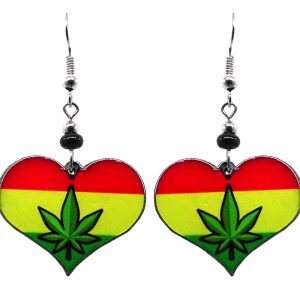 Heart-shaped cannabis pot leaf graphic acrylic dangle earrings with beaded metal hooks in striped Rasta colors.
