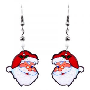 Christmas holiday themed winking Santa Claus face acrylic dangle earrings with beaded metal hooks in red, white, and peach color combination.