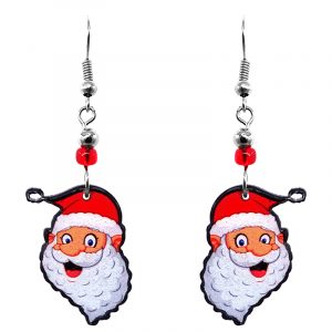 Christmas holiday themed joyful Santa Claus face acrylic dangle earrings with beaded metal hooks in red, white, and peach color combination.