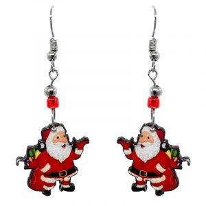 Christmas holiday themed Santa Claus carrying gifts acrylic dangle earrings with beaded metal hooks in red, white, green, and peach color combination.