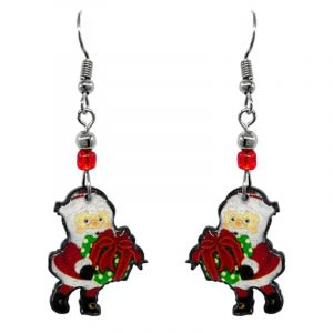 Christmas holiday themed Santa Claus carrying gift box acrylic dangle earrings with beaded metal hooks in red, white, green, and peach color combination.
