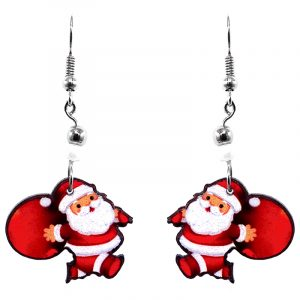 Christmas holiday themed Santa Claus carrying gifts acrylic dangle earrings with beaded metal hooks in red, white, and peach color combination.