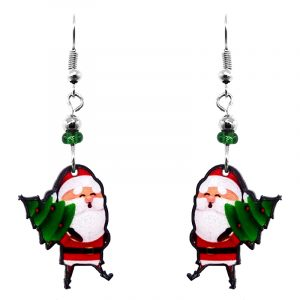 Christmas holiday themed Santa Claus carrying tree acrylic dangle earrings with beaded metal hooks in red, white, green, and peach color combination.