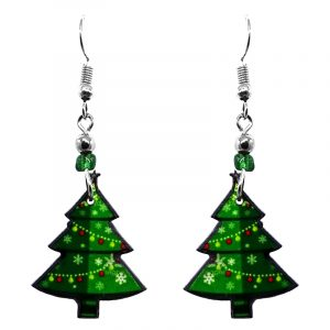 Christmas holiday themed tree acrylic dangle earrings with beaded metal hooks in green and lime green color combination.