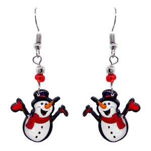Christmas holiday themed snowman acrylic dangle earrings with beaded metal hooks in white, red, orange, and black color combination.