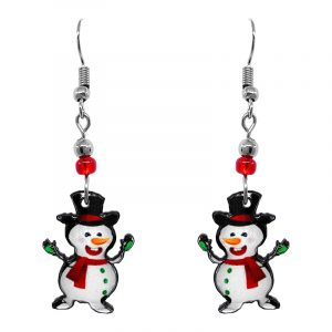 Christmas holiday themed snowman acrylic dangle earrings with beaded metal hooks in white, red, orange, green, and black color combination.