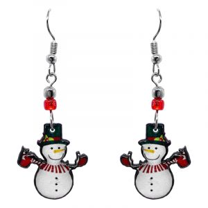 Christmas holiday themed snowman acrylic dangle earrings with beaded metal hooks in white, red, dark green, and black color combination.