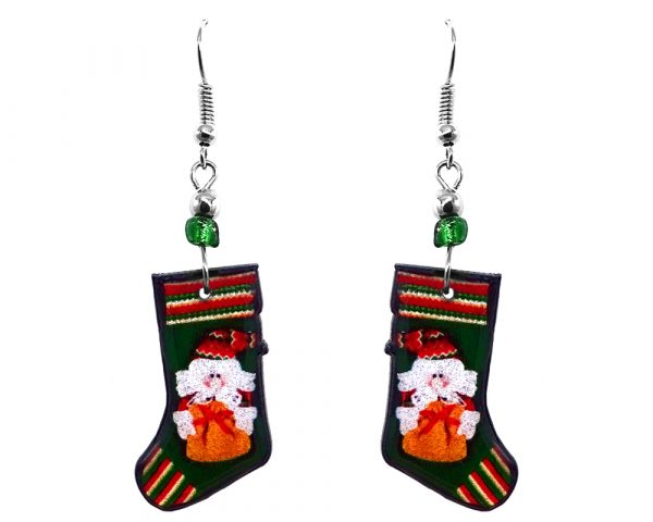Christmas holiday themed Santa stocking acrylic dangle earrings with beaded metal hooks in dark green, red, and white color combination.