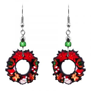 Christmas holiday themed wreath acrylic dangle earrings with beaded metal hooks in red, dark green, and brown color combination.
