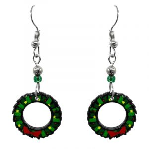 Christmas holiday themed wreath acrylic dangle earrings with beaded metal hooks in green, lime green, and red color combination.