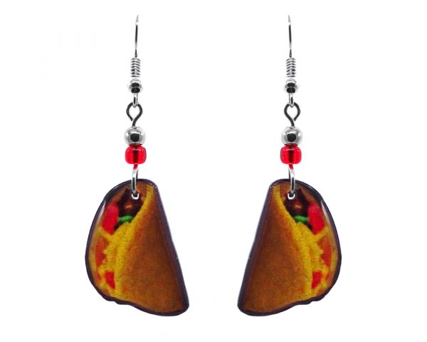 Steak taco Mexican food acrylic dangle earrings with beaded metal hooks in golden yellow, red, and brown color combination.