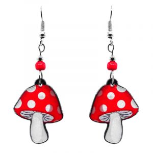 Amanita magic mushroom acrylic dangle earrings with beaded metal hooks in red and white color combination.