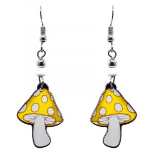 Amanita magic mushroom acrylic dangle earrings with beaded metal hooks in yellow and white color combination.