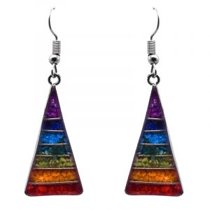 Triangle-shaped striped resin and crushed chip stone inlay dangle earrings with silver setting in rainbow chakra color combination.