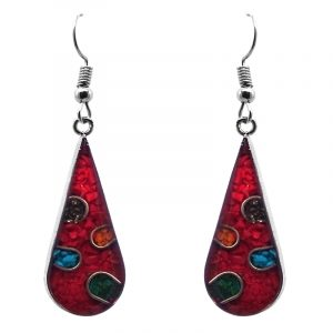 Teardrop-shaped polka dot resin and crushed chip stone inlay dangle earrings with silver setting in red and multicolored color combination.