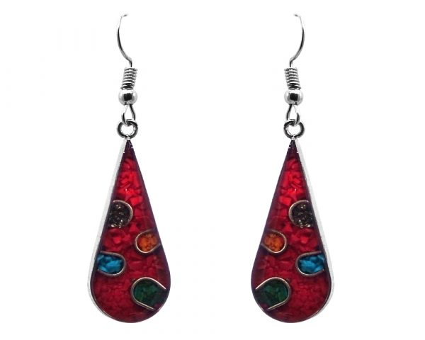 Mia Jewel Shop: Teardrop-shaped polka dot resin and crushed chip stone inlay dangle earrings with silver setting in red and multicolored color combination.