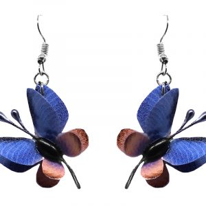 Three-dimensional butterfly durable plastic dangle earrings in blue and peach color combination.