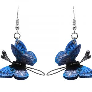 Three-dimensional butterfly durable plastic dangle earrings in light blue, gray, and black color combination.