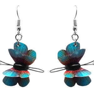 Three-dimensional butterfly durable plastic dangle earrings in turquoise blue and red color combination.