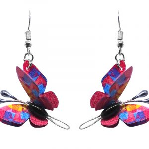 Three-dimensional abstract butterfly durable plastic dangle earrings in hot pink, turquoise blue, and yellow color combination.