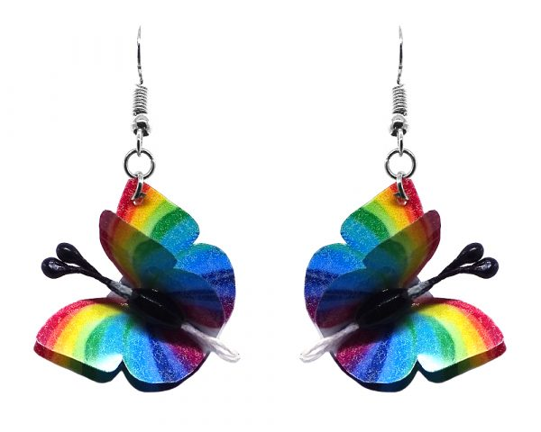 Three-dimensional striped butterfly durable plastic dangle earrings in rainbow colors.
