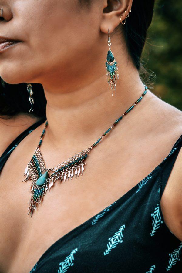 Mia Jewel Shop: Teardrop Stone Long Beaded Dangle Fringe Necklace and Earrings Jewelry Set