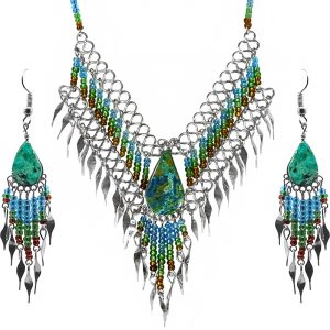 Teardrop-cut teal chrysocolla stone beaded fringe chain necklace with long seed bead and alpaca silver metal dangles and matching earrings in turquoise blue, green, and brown color combination.