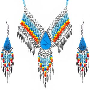 Native American inspired teardrop-cut turquoise howlite stone beaded fringe chain necklace with long seed bead and alpaca silver metal dangles and matching earrings in light blue, turquoise, yellow, orange, and red color combination.