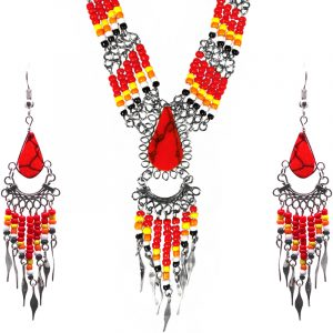 Native American inspired teardrop-cut red jasper stone beaded multi strand chain necklace with long seed bead and alpaca silver metal dangles and matching earrings in red, yellow, orange, white, and black color combination.