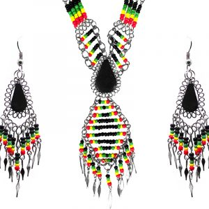 Rasta-colored teardrop-cut black onyx stone beaded multi strand chain necklace with long seed bead diamond design and alpaca silver metal dangles and matching earrings in red, green, yellow, and black color combination.