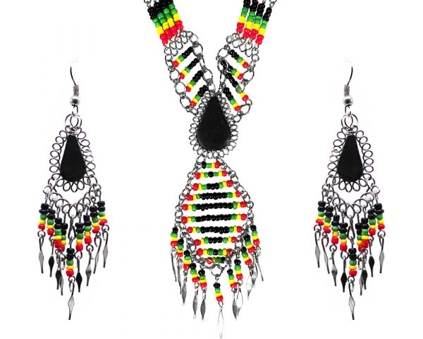 Mia Jewel Shop: Rasta-colored teardrop-cut black onyx stone beaded multi strand chain necklace with long seed bead diamond design and alpaca silver metal dangles and matching earrings in red, green, yellow, and black color combination.