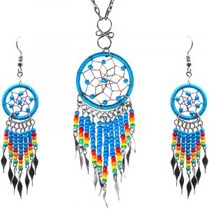 Native American inspired round-shaped beaded thread dream catcher chain necklace with long seed bead and alpaca silver metal dangles and matching earrings in turquoise blue, red, orange, yellow, and mint green color combination.