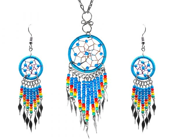 Mia Jewel Shop: Native American inspired round-shaped beaded thread dream catcher chain necklace with long seed bead and alpaca silver metal dangles and matching earrings in turquoise blue, red, orange, yellow, and mint green color combination.