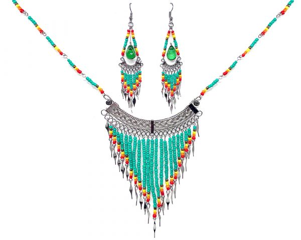Mia Jewel Shop: Native American inspired beaded chain necklace with long seed bead and alpaca silver metal fringe dangles and matching teardrop-shaped glass bead chandelier earrings in mint, gold, yellow, orange, and red color combination.