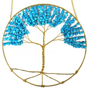 Round golden-colored wire tree of life hanging ornament with tumbled chip stones in turquoise blue howlite.