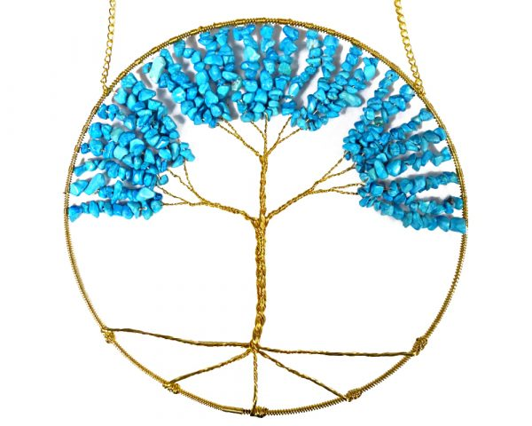 Mia Jewel Shop: Round golden-colored wire tree of life hanging ornament with tumbled chip stones in turquoise blue howlite.