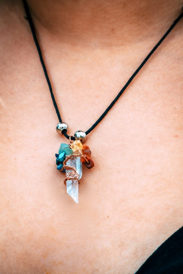 Mia Jewel Shop: Rainbow Chip Stone Wire Wrapped Tree of Life Quartz Crystal Necklace