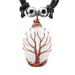 Copper metal wire wrapped Tree of Life oval-shaped stone cabochon pendant on adjustable necklace in clear quartz.