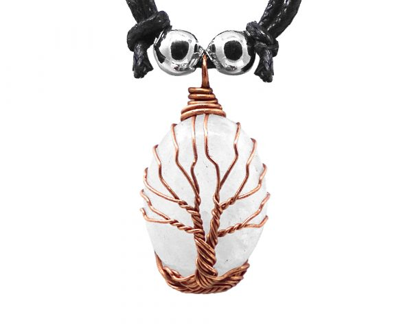 Mia Jewel Shop: Copper metal wire wrapped Tree of Life oval-shaped stone cabochon pendant on adjustable necklace in clear quartz.