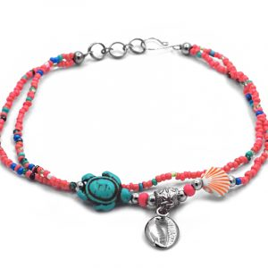 Seed bead multi strand anklet with silver metal seashell charm, sea turtle bead, and clam shell bead centerpiece in salmon pink, turquoise, orange, white, and multicolored color combination.