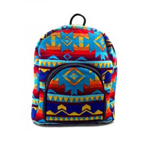 Handmade mini cushioned backpack with Aztec inspired tribal print pattern material in turquoise blue and multicolored color combination.