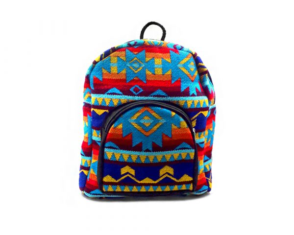 Mini-sized backpack with Aztec inspired tribal print pattern in turquoise blue and multicolored color combination.