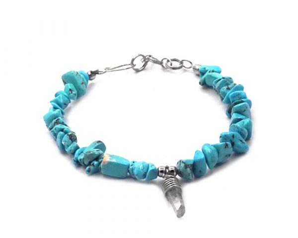 Chip stone bracelet with natural clear quartz crystal dangle in turquoise howlite.
