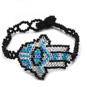 Czech glass seed bead bracelet with multicolored hamsa hand centerpiece in black, silver, turquoise blue, and mint color combination.