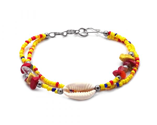Seed bead and chip stone multi strand bracelet with natural seashell centerpiece in yellow, red, blue, orange, gold, green, and white color combination.
