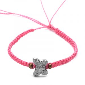 Macrame bracelet with silver metal butterfly charm and seed bead centerpiece in pink color.
