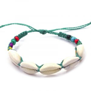 Macramé pull tie bracelet with natural seashells and multicolored seed beads in mint green and white color combination.