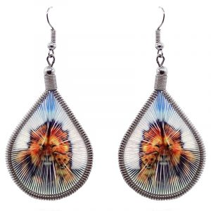 Teardrop-shaped thread dangle earrings with alpaca silver wire and lion father and cub graphic image in golden yellow, orange, light blue, white, and green color combination.