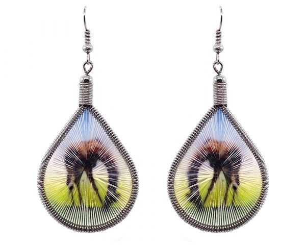 Teardrop-shaped thread dangle earrings with alpaca silver wire and bent over giraffe graphic image in brown, yellow, light blue, and green color combination.